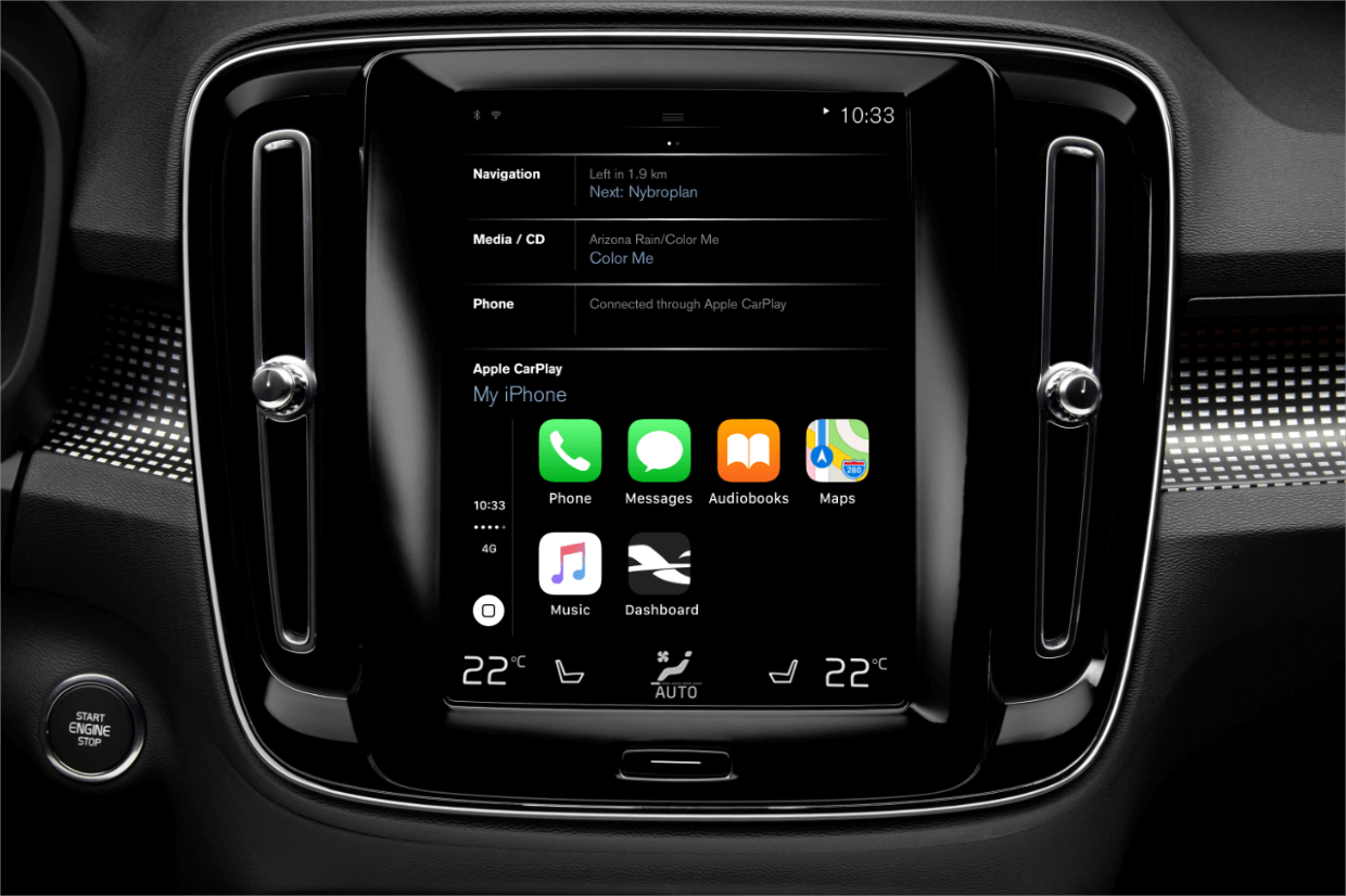 A car's infotainment screen displaying Dashboard app icon when phone is connected.