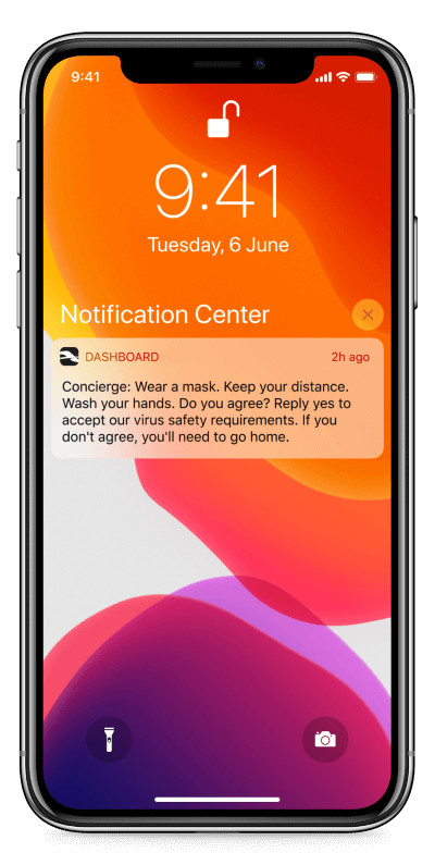 A push notification informing users about the virus safety requirements.